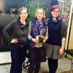 Irina Hahn, Christine Geiger und Pia Schellhammer auf der Wahlkreisversammlung in Alzeye
